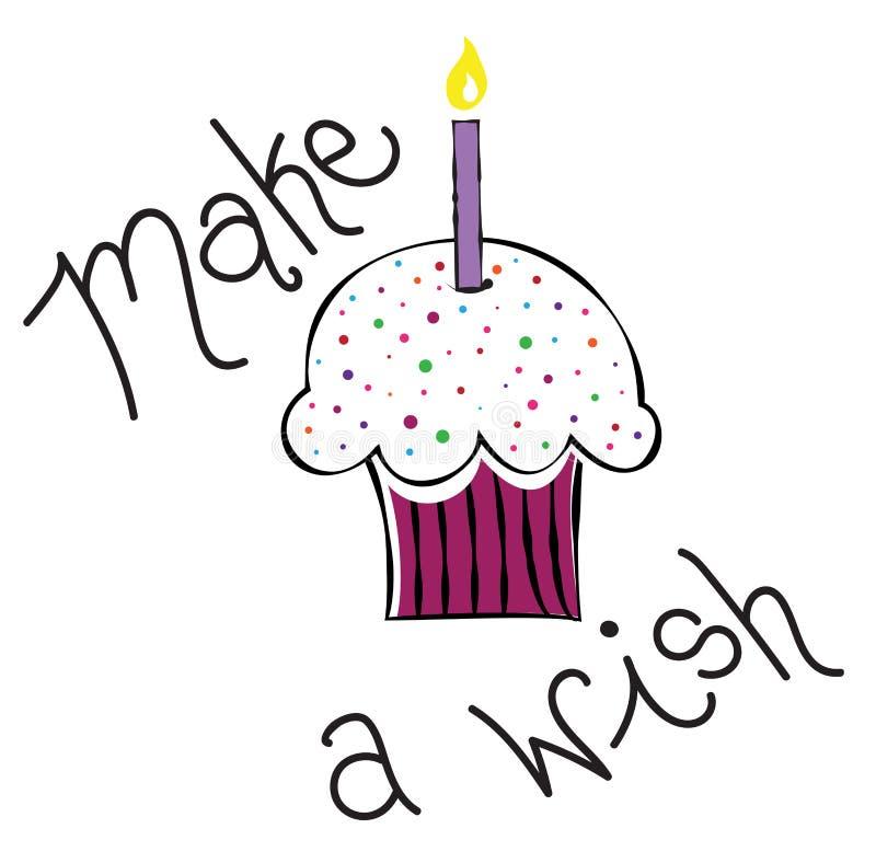 Faça um queque do desejo ilustração stock