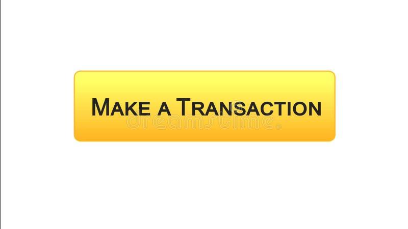 Faça uma relação da Web da transação abotoar a cor alaranjada, aplicação em linha do banco ilustração royalty free