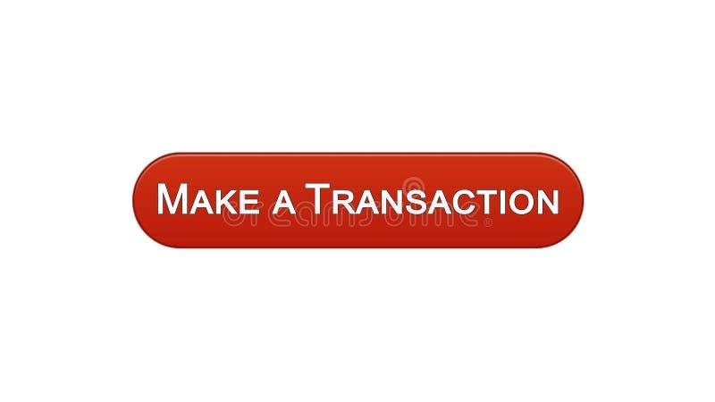 Faça uma relação da Web da transação abotoar a cor vermelha de vinho, aplicação em linha do banco ilustração royalty free