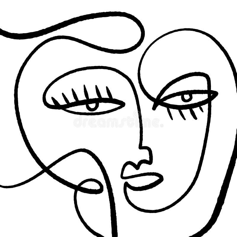 Façade abstraite moderne Portrait Visage Brosse à encre linéaire Art Peinture contemporaine Peinture actuelle Vecteur Illustrat illustration stock