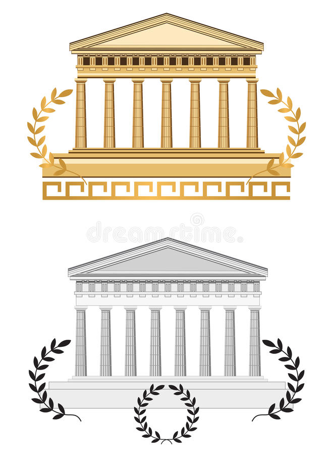 Façade antique de temple illustration stock