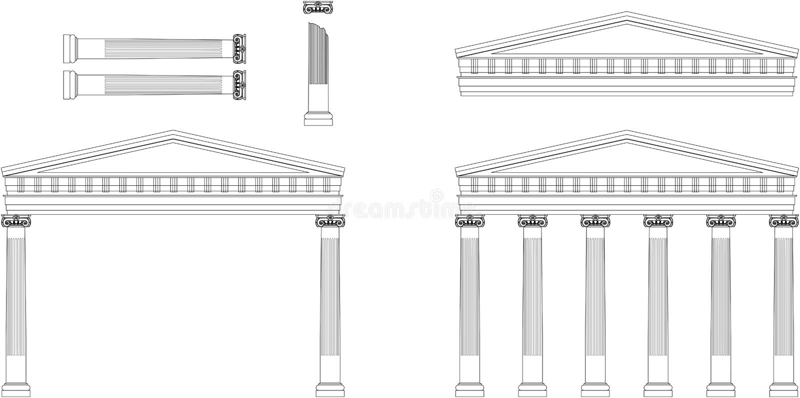Façade antique de temple illustration de vecteur