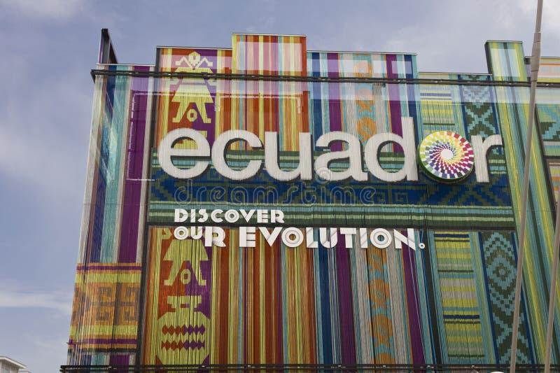 Façade colorée de pavillon de l'Equateur à l'expo 2015 images stock
