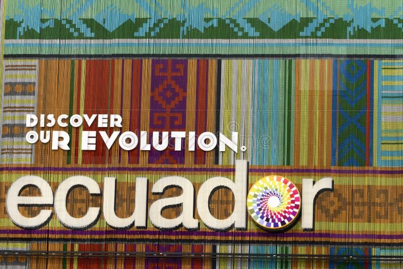 Façade colorée de pavillon de l'Equateur, EXPO Milan 2015 image stock