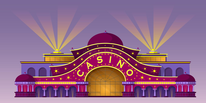 Façade d'un bâtiment de casino illustration de vecteur