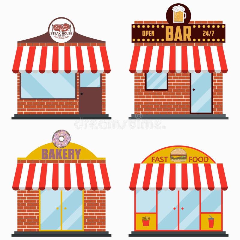 Façade de bâtiment avec l'enseigne réglée - grill et restaurant de viande de gril, barre de bière, boutique de boulangerie, alime illustration stock