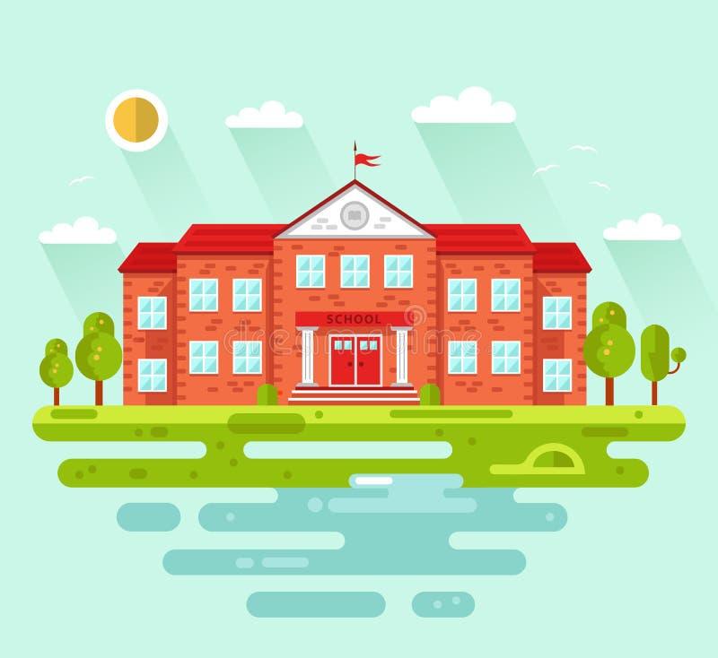 Façade de bâtiment d'école ou d'université illustration de vecteur
