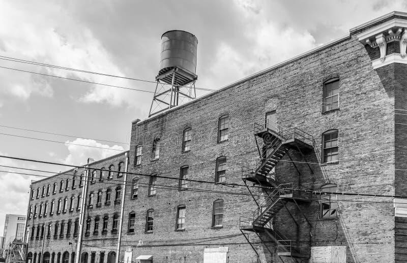Façade de bâtiment historique, évêque Parker Warehouse images stock