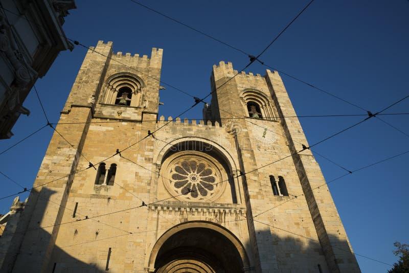 Façade de cathédrale de Lisbonne, Portugal photo stock