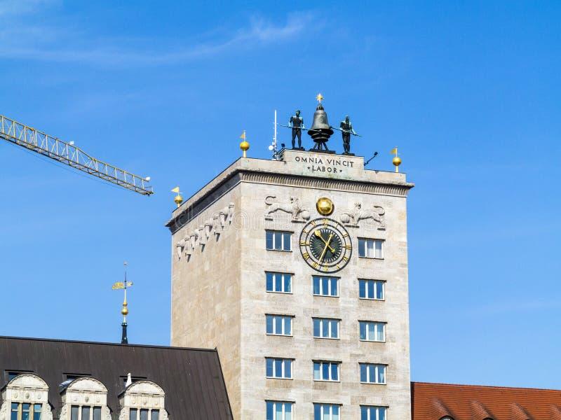 Façade de gratte-ciel célèbre de Krock à Leipzig photos libres de droits
