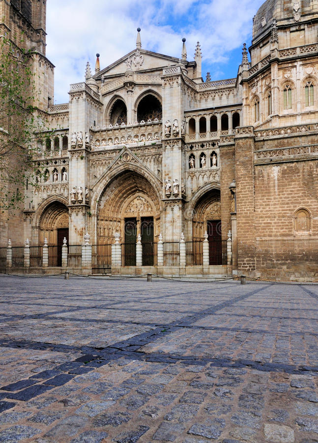 Façade de cathédrale de Toledo, Espagne photo stock