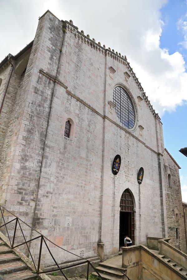 Façade de la cathédrale de Gubbio, Ombrie photographie stock libre de droits
