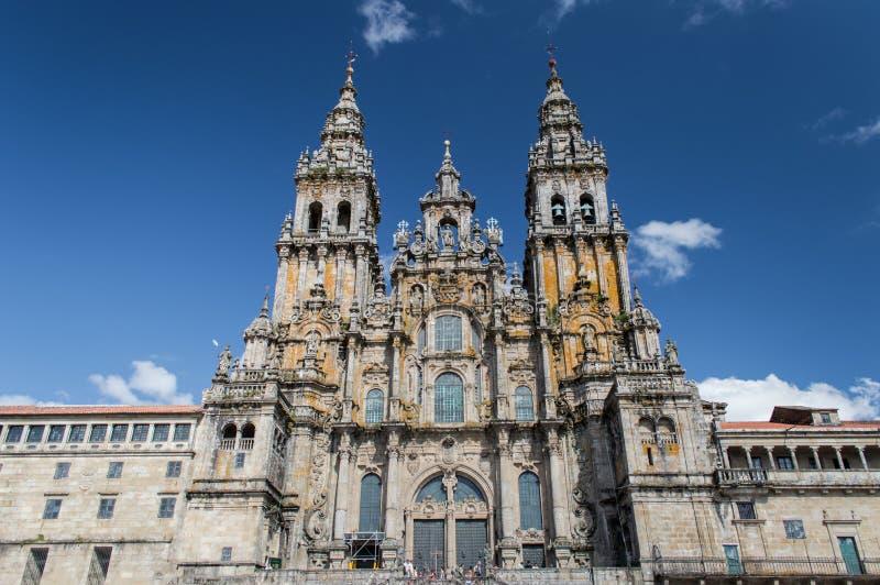 Façade de la cathédrale Santiago de Compostela photos libres de droits