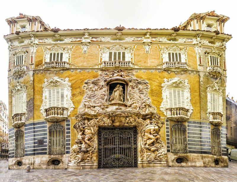 Façade de Marques De Dos Aguas de palais en albâtre à Valence, PS photos stock