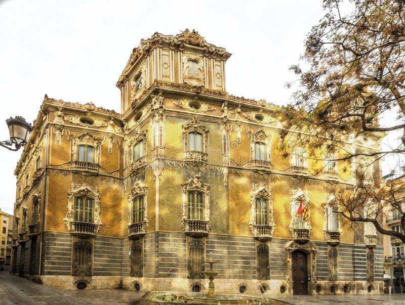 Façade de Marques De Dos Aguas de palais en albâtre à Valence, station thermale photos stock