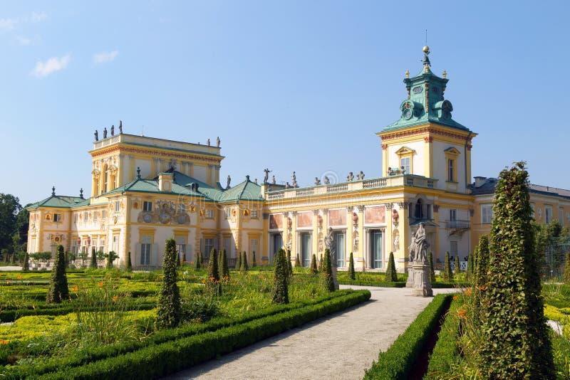 Façade de palais de Wilanow à Varsovie, Pologne photo stock