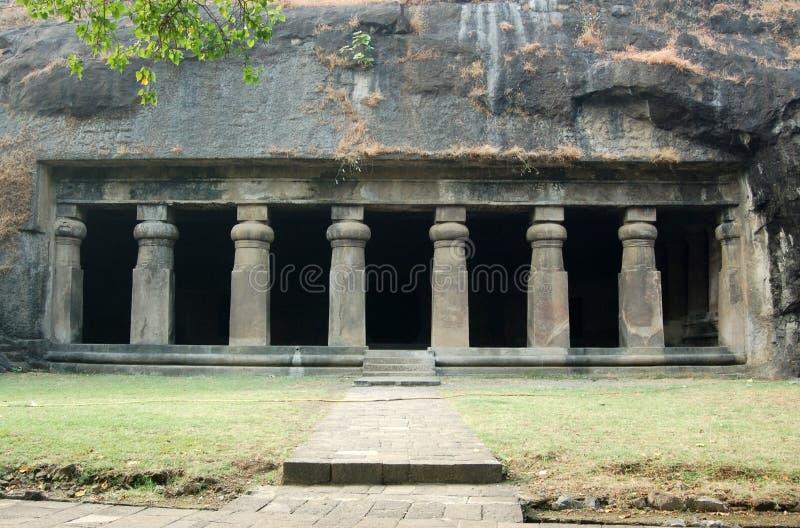 Façade de temple de caverne d'Elephanta, Mumbai image stock