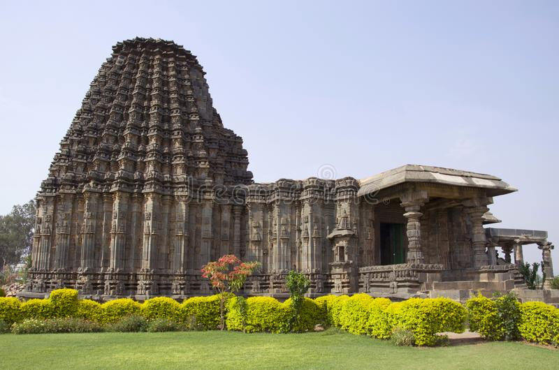 Façade de temple de Doddabasappa, Dambal, près de Gadag, Karnataka images stock