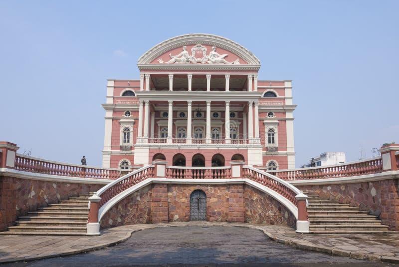 Façade de théâtre d'Amazone à Manaus image libre de droits