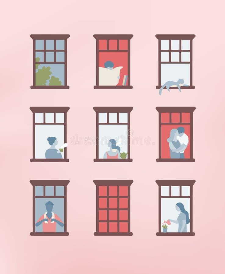 Façade du bâtiment avec les fenêtres ouvertes et les personnes vivant à l'intérieur Hommes et femmes buvant du thé, lisant le jou illustration stock