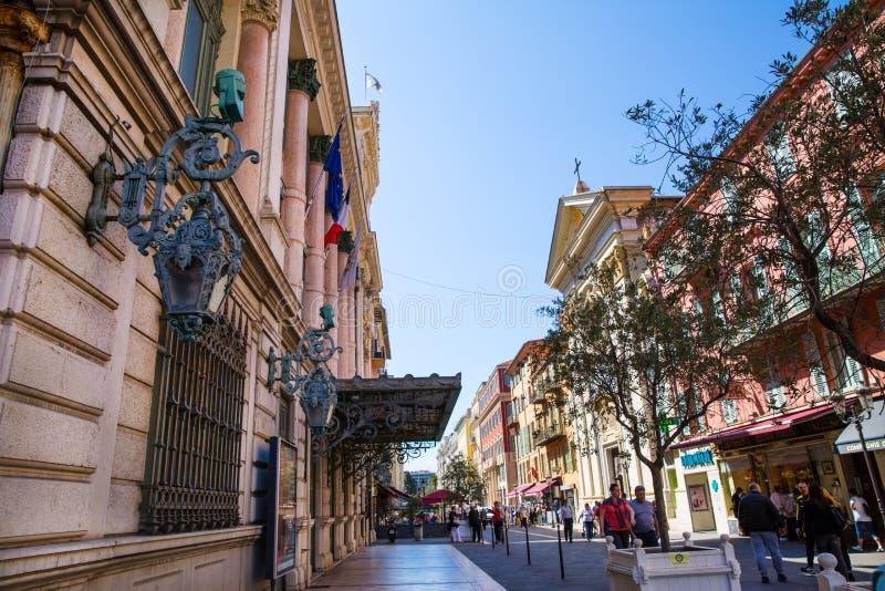 Façade du bâtiment médiéval dans la vieille ville de Nice, France images libres de droits