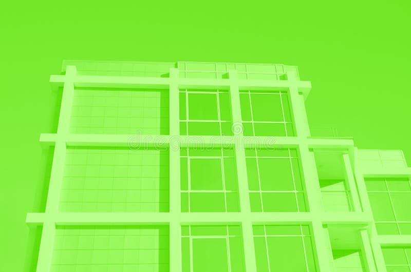 Façade du bâtiment moderne d'affaires avec de grands fenêtres et balcon reflétés Vert modifié la tonalité illustration libre de droits