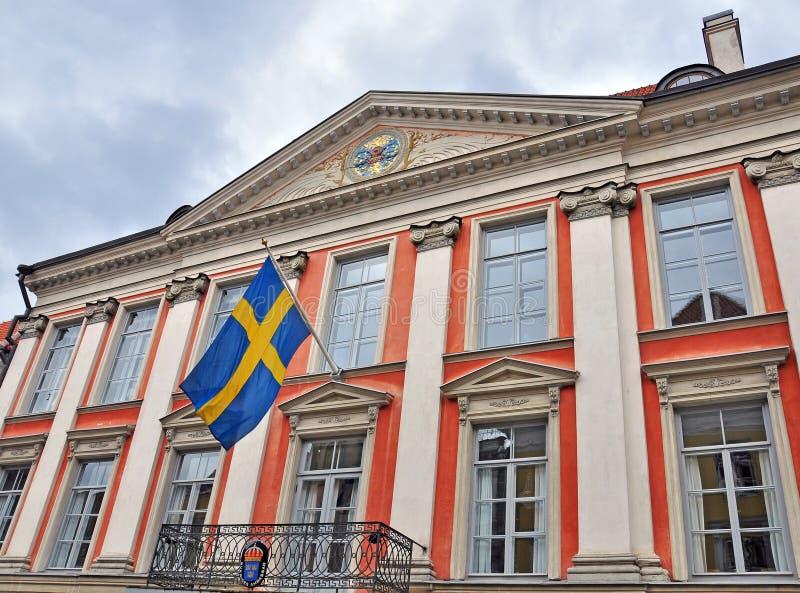 Façade du bâtiment suédois de consulat photo stock