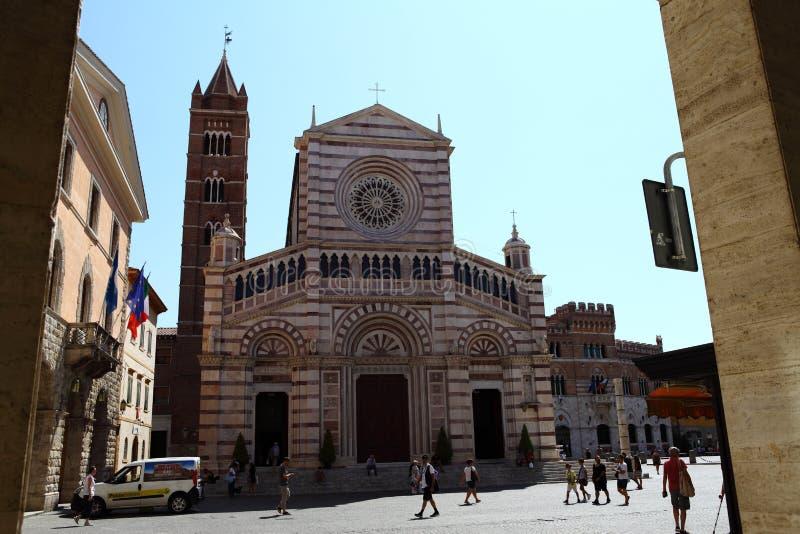 Façade du Duomo de Grosseto Toscane Italie photos stock