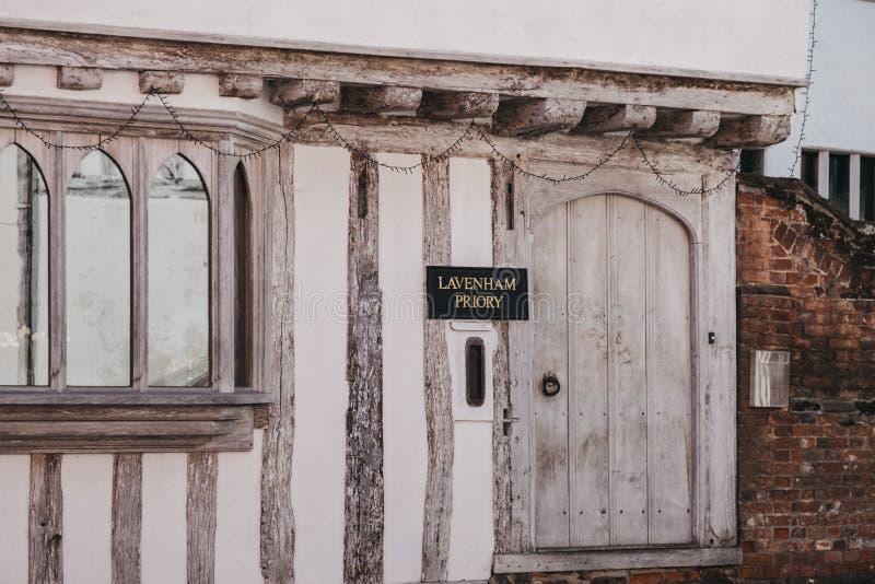 Façade du Lavenham Priory Bed & Breakfast à Lavenham, Angleterre, Royaume-Uni photographie stock