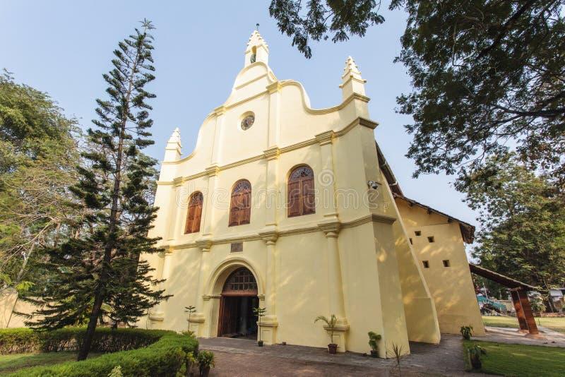 Façade du St colonial Francis Church, Kochin, Kerala, Inde images stock