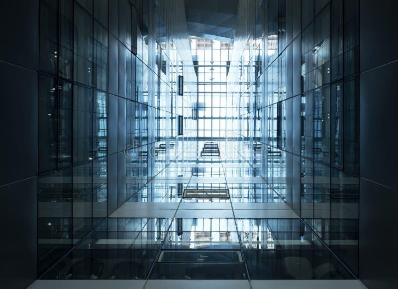 Façade en acier en verre moderne de bâtiment de détail d'architecture image stock