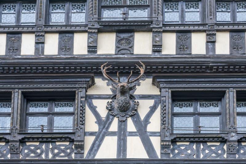 Façade en bois de bâtiment avec la sculpture en trophée de chasse photos stock