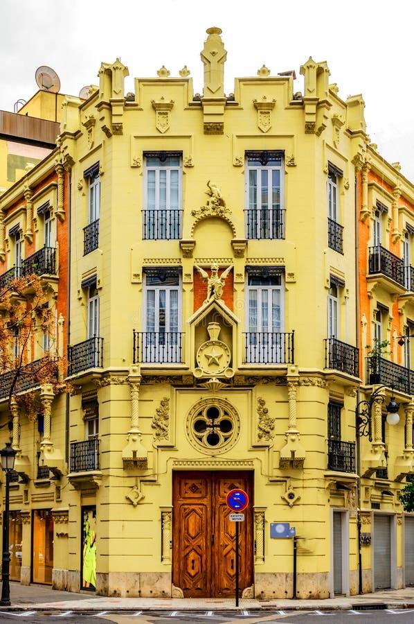 Façade extérieure de bloc constitutif d'Apartament de vintage, Valence, Espagne images libres de droits