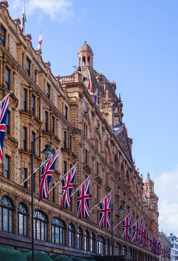 Façade Harrods Londres images libres de droits