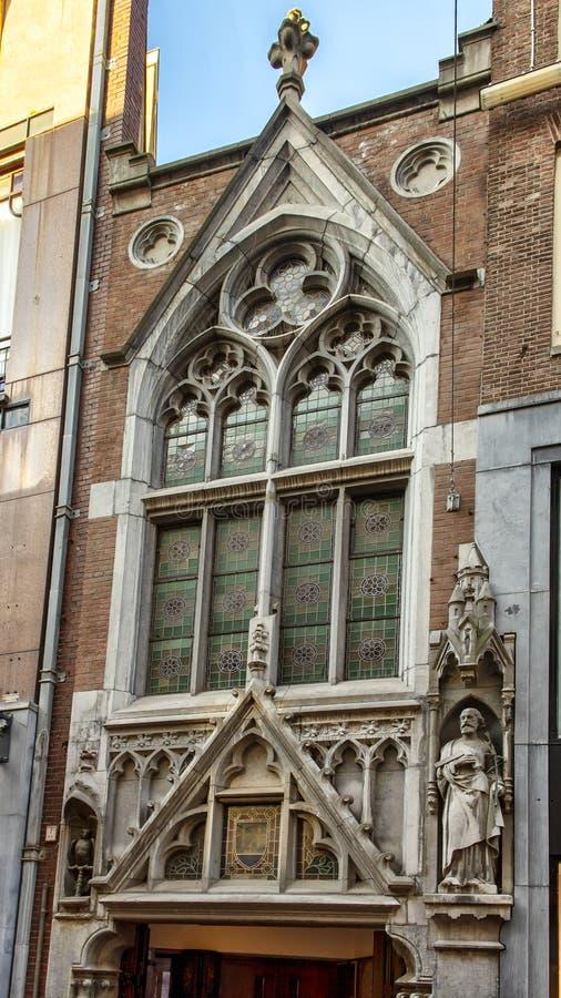 Façade néogothique de l'église cachée, De Papegaii, Amsterdam, Pays-Bas photos libres de droits