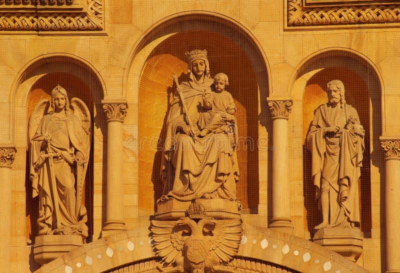 Façade principale de cathédrale de Speyer, Allemagne images libres de droits