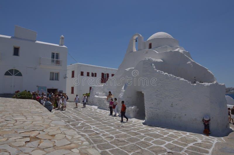 Façade principale de l'église de Paraportiani en île de Chora de Mikonos Arte History Architecture photo libre de droits