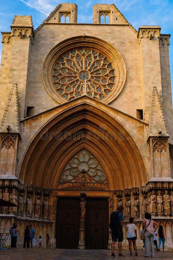 The façade of Tarragona Cathedral during the summer stock image