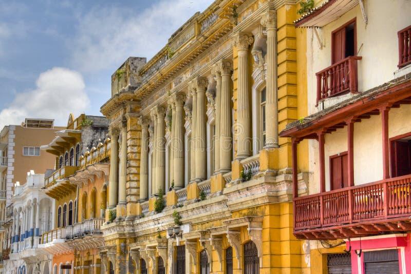Façades coloniales à Carthagène image libre de droits