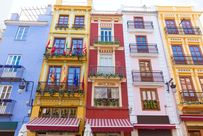 Façades colorées de Valence au central avant de Mercado photographie stock libre de droits