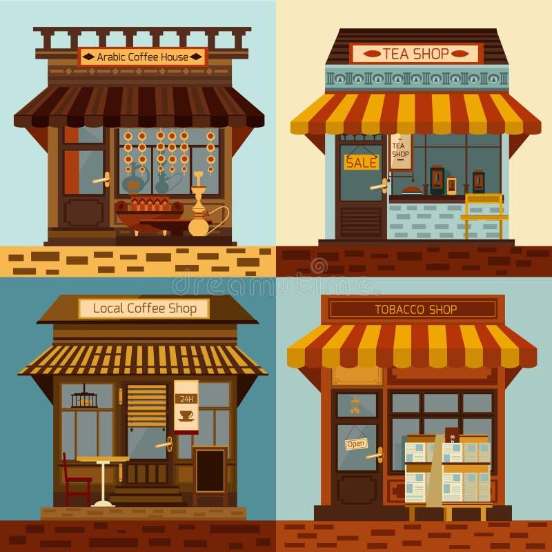 Façades de boutiques réglées illustration stock