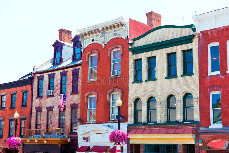 Façades historiques Washington de secteur de Georgetown photo stock