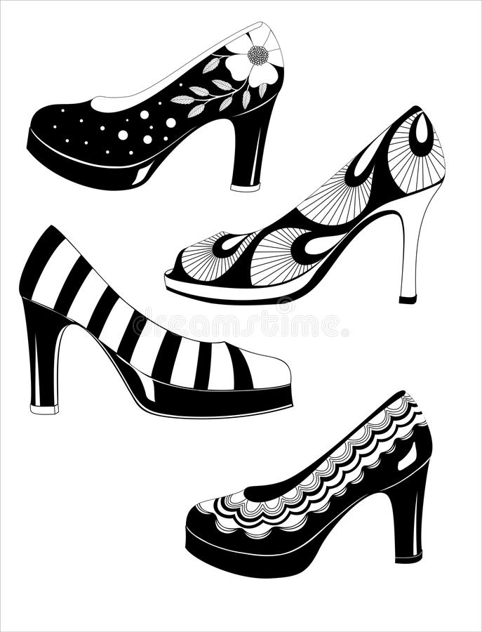 Façonnez à des femmes le vecteur de chaussures illustration stock