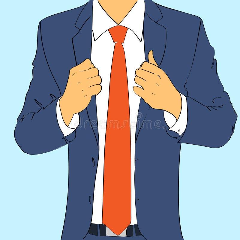 Façonnez à usage d'homme d'affaires de costume le lien rouge conception plate illustration stock