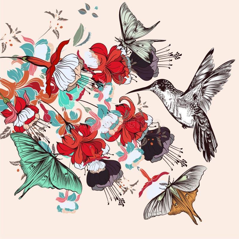 Façonnez l'illustration avec de belles fleurs tirées par la main dans le vintage illustration libre de droits