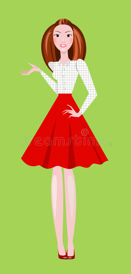 Façonnez l'illustration de la fille utilisant la jupe rouge et le chemisier carré blanc illustration stock