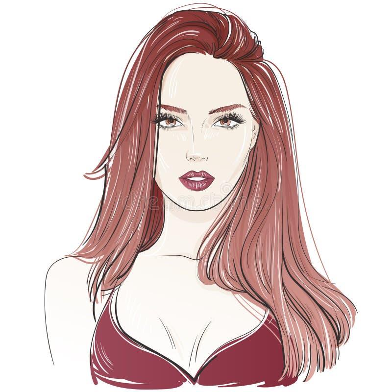 Façonnez la belle femme sexy avec de longs cheveux onduleux rouges Illustration tirée par la main de vecteur illustration libre de droits