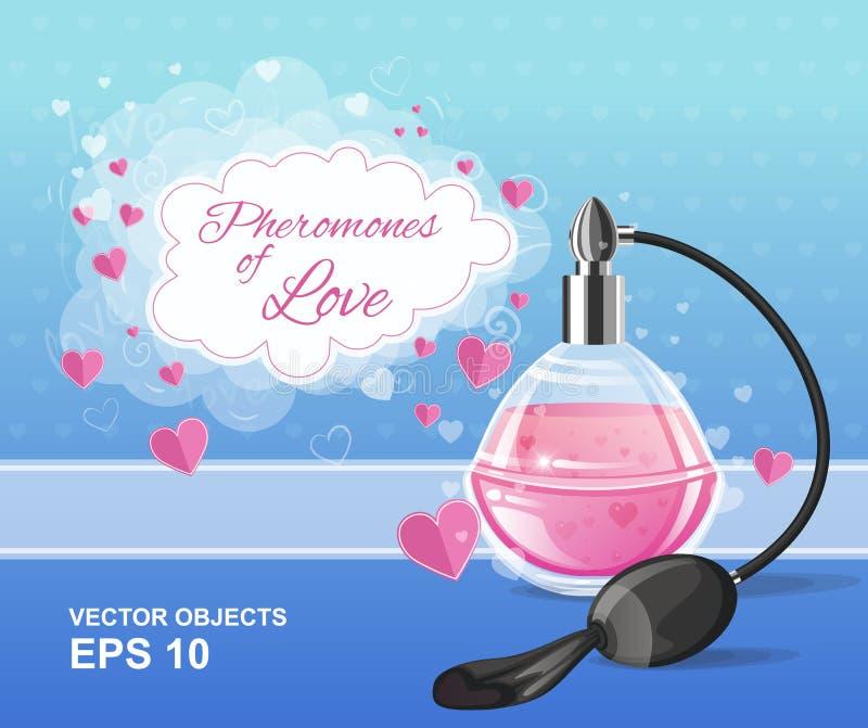 Façonnez la bouteille de parfum rose d'élégance avec un pulvérisateur Phéromones de l'amour Conception romantique illustration libre de droits