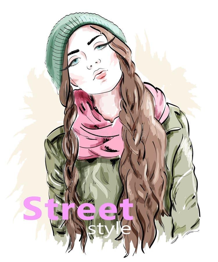 Façonnez la fille utilisant le chapeau et la veste modernes de knit Vêtements de style de rue croquis illustration libre de droits