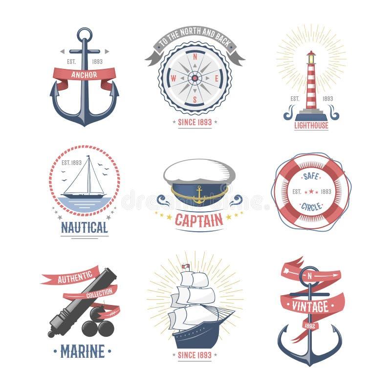 Façonnez la navigation nautique et marine vecteur orienté de label illustration libre de droits